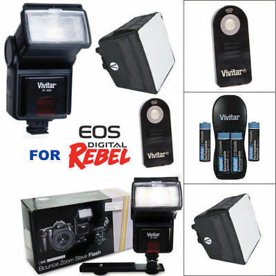 Zoom Led Flash + Charger + Diffuser + Batteries + Remote For Canon Eos M50 M3 M5