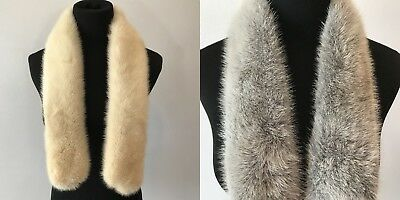 Vintage Lot of 2 Genuine Mink Fur Scarf Wrap Collar Ivory and Silver Gray AC