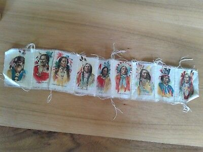 INDIAN CHIEFS 1910 TOKIO CIGARETTES TOBACCO SILKS lot of 9 sewn together