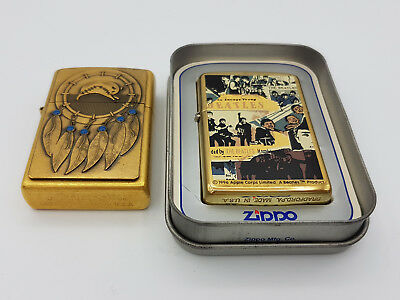 lot of 2 ZIppo lighters Dream Catcher gold dust & The Beatles Anthology brass