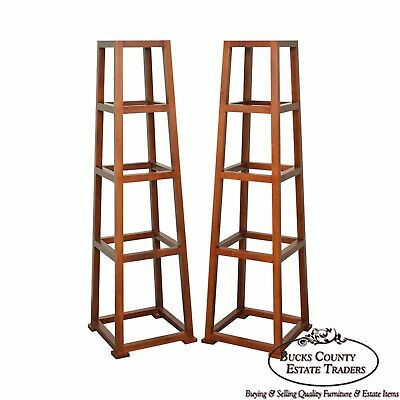 Custom Crafted Oak Obelisk Tall Pedestal Stands (Illegibly Signed Maker)