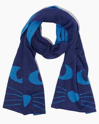 Charming Charlie NWT Whiskers Cozy Cat Scarf Reversible Blue Scarf One Size