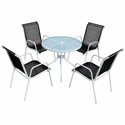 Outdoor Garden Set Coffee Table and Chairs 5 Pieces Parasol Hole Patio Furniture