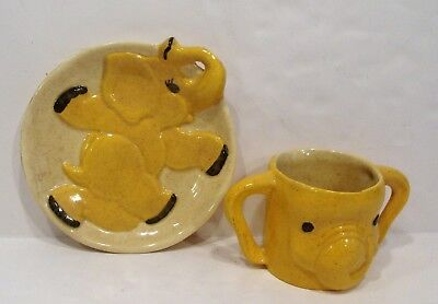child's ceramic elephant plate and cup