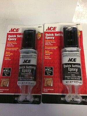 LOT OF 2 QUICK SETTING EPOXY 2-Part Multi Adhesive Glue Dual Syringe .85 OZ EACH