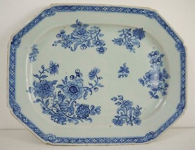 A large Chinese export Qianlong hand painted  blue and white platter