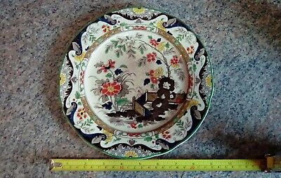 """Anglesey Pattern WR Ridgways England plate, 9"""" very crazed date stamp 1.6.37"""