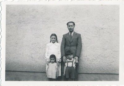 Vintage Photo 1930's German Family Centered Against Giant Wall