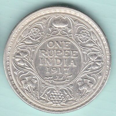 British India - 1917 - King George V Emperor - One Rupee - Rare Silver Coin