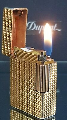 ST DuPont Lighter Gold Diamond Head Line 1 Small Fully Functional Warranty  F42