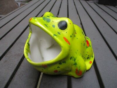 Vintage Ceramic Frog Open Mouth Scrubby Scouring Pad Sponge Holder Green/White