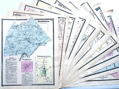 Original Maps. Ten 1870 Massachusetts Antique Colored Town County Fw Beers Atlas