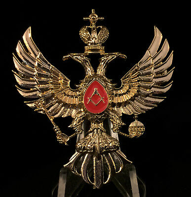 Large Gold Masonic Russian Two Headed Eagle Pin Brooch Ornate Coat Arms Enamel