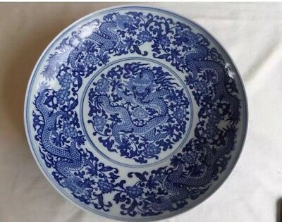 Large Chinese Porcelain Blue & White Dragon Charger 6 Character Seal Mark
