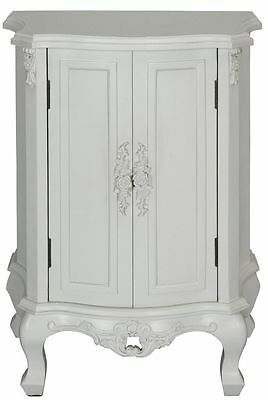 French Style Shabby Chic Ivory White Vintage Rose 2 Door Cupboard Ornate Bedside