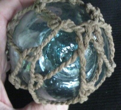 Old Hand Blown Green Glass Nautical Ball Float With Netting