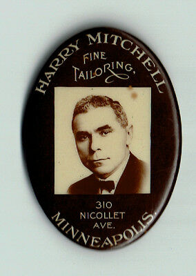 early advertising pocket mirror for Harry Mitchell Tailoring Minneapolis