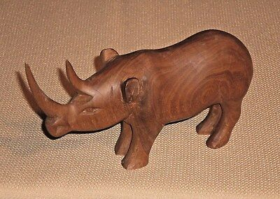 Vintage Hand Carved Wooden Figurine RHINOCEROS Fine Crafted 627s