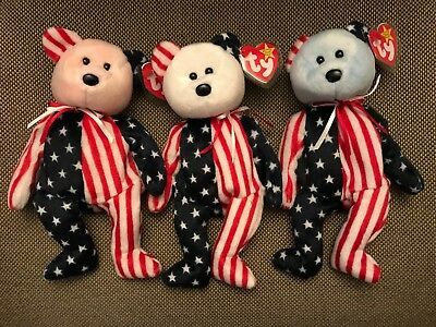 Set of 3 Ty Beanie Babies Spangle Bears Pink White + Blue Faces MWMT w Tag Prot