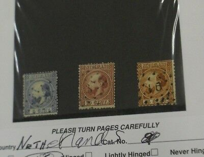 Netherlands Scott 7e 8d and 9 used CV$34.50 F VG and VG