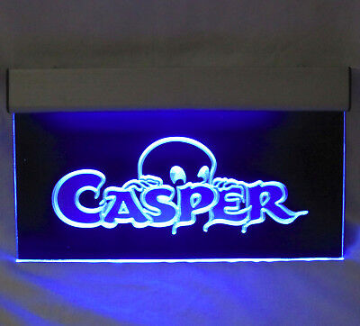 Casper the Friendly Ghost LED Blue Neon Lighted Hanging Sign Light - Retro