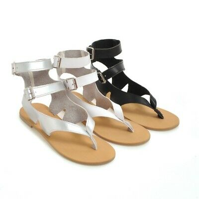 c6bd37d3c7330 WOMEN SUMMER FLIP Flops Buckle Slippers Flat Sandals Ankle Strappy Thong  Shoes -  30.99