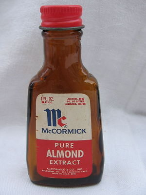 vtg 1960 glass McCormick pure Almond Extract bottle 60s cooking baking not spice