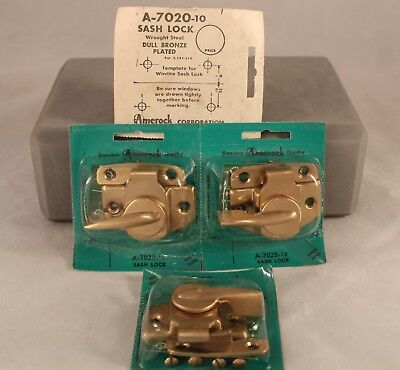 """Set of 4 Vintage Amerock Sash Lock with Screws NOS A7020-10 Dull Bronze Plated"""""""
