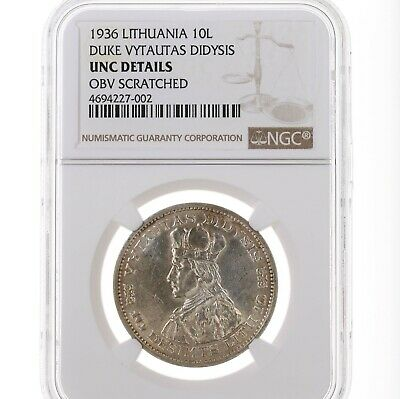 1936 Lithuania 10L Duke Vytautas Didysis NGC Certified UNC Details Obv Scratched