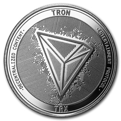 Bitcoin Cryptocurrency Tron (TRX) - In Code We Trust 1 oz .999 Silver BU Round