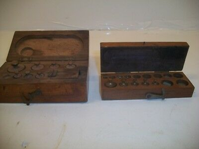 Antique Brass and Copper Scale Weights Grams Sets in original boxes Currency
