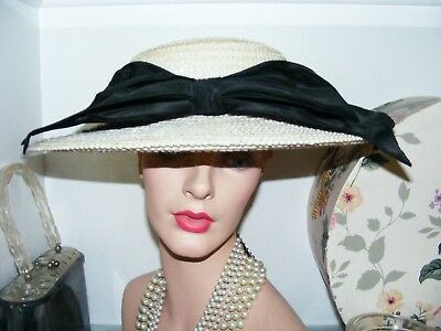 ** Vintage 1950-60's Woven Straw Hat * Wide Brim Hat * By Patrice **