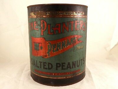 Antique Planters Pennant Brand Salted Peanuts 10 Pound Tin - Pat. June, 1909