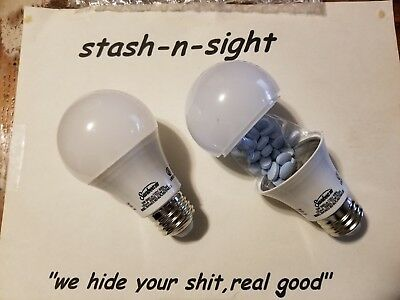 x2 Light Bulb Home Security Safe Can Secret Container Hidden Diversion Stash Box