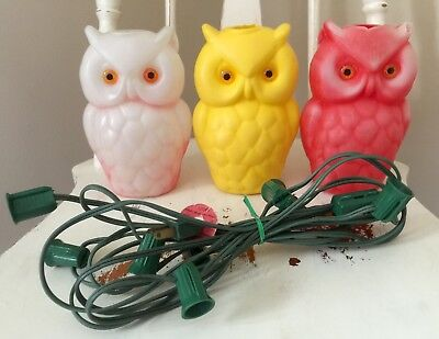 Vintage blow mold owl party lights rv camping patio lights 3 vintage owl tiki lantern patio lights blow mold plastic replacements workwithnaturefo