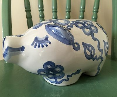 RARE VINTAGE M. A. Hadley Hand painted  Piggy Bank Flowers Stoneware Pottery