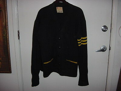 Original H.L. Whiting Co. Letterman Sweater..no size on tag~Dark Navy w/Yellow