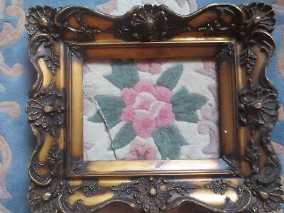 """Antique 1850s Ornate Gold Gesso Picture Wood Frame 12"""" X 9"""""""