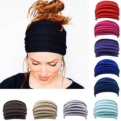 Women Girl Milk silk Simple Ruffle Wide Headband Sport Gym Yoga Hair band