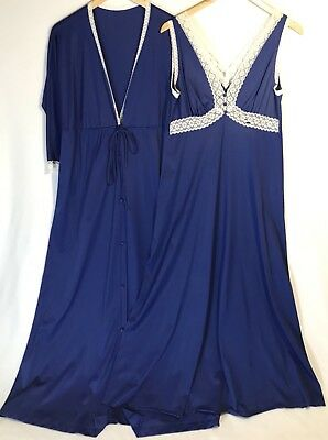 Vintage Vanity Fair Nightgown Robe Set Lace Nylon Sweeping Sz 34