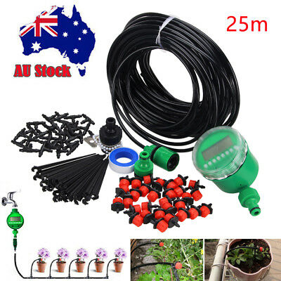 Garden Micro Drip Irrigation System Auto Timer 25M Hose Plant Sprinkler Drippers