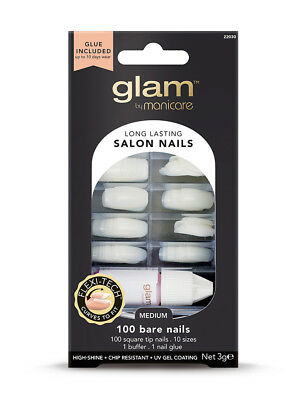 Glam By Manicare Bof Of 100 Bare Nails Medium Glue Included Square Tip Nails