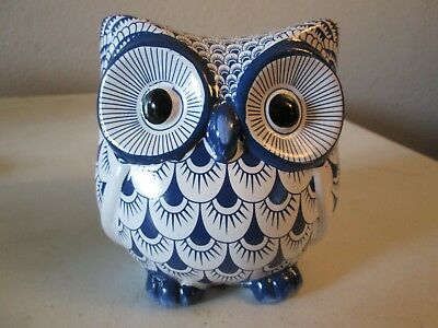 """LARGE PORCELAIN CERAMIC OWL Delft Style COBALT BLUE  AND WHITE 6"""" Tall"""