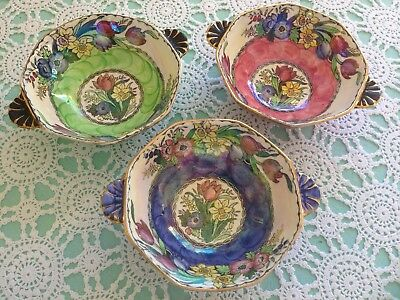 Maling Springtime Bowls with Wave Thumb Print in Lustre Pink Blue & Green