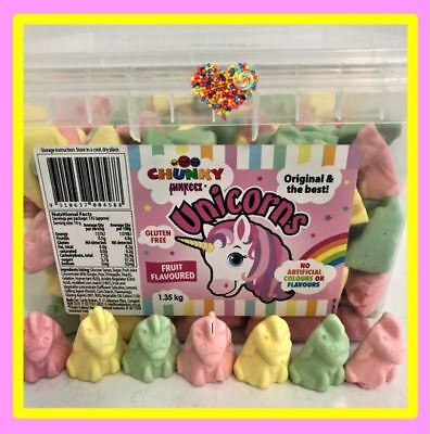 Chunky Unicorns 675G Soft Lollies In Pastel Pink Green Yellow Fruity Lollies