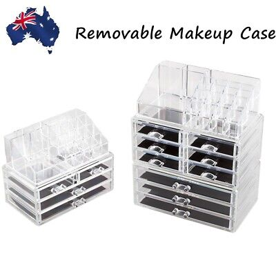 4/9 Drawers Cosmetic Organiser Clear Acrylic Jewellery Box Makeup Storage Holder