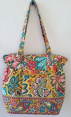 Vera Bradley Tote Shoulder Bag Purse Provencal Yellow Floral Print Large