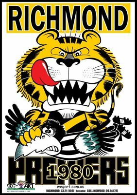 Richmond Tigers 1980 Clash Poster FREE POST IN AUSTRALIA