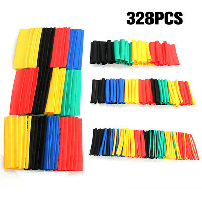 328Pcs 8 Sizes Assortment Ratio 2:1 Heat Shrink Tubing Sleeving Wrap Wire Kit