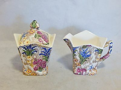 Vintage Japan Chintz Sugar and Creamer Set